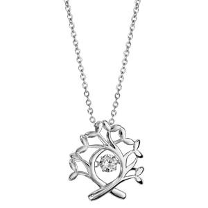 Collier Dancing Stone en argent rhodié chaîne avec pendentif arbre de vie - longueur 42cm + 3cm de rallonge - Vue 2