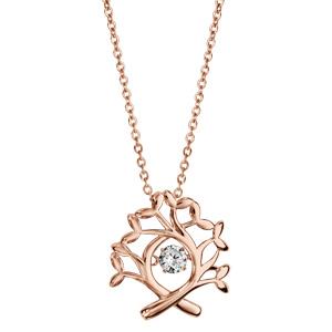 Collier Dancing Stone en argent et dorure rose chaîne avec pendentif arbre de vie - longueur 42cm + 3cm de rallonge - Vue 2