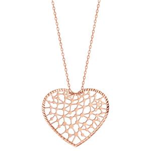 Collier en argent et dorure rose chaîne avec pendentif coeur ajouré en dentelle - longueur 40cm + 5cm de rallonge - Vue 2