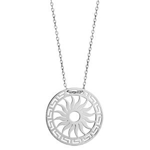 Collier en argent rhodié chaîne avec pendentif rond avec motif soleil découpé - longueur 40cm + 5cm de rallonge - Vue 2