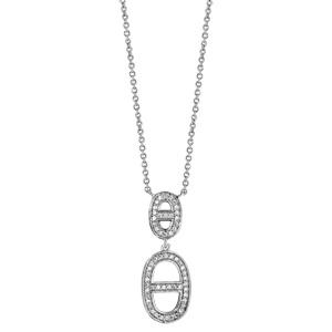 Collier en argent rhodié chaîne avec pendentif 2 ovales avec barre au centre en oxydes blancs sertis - longueur 40cm + 4cm de rallonge - Vue 2