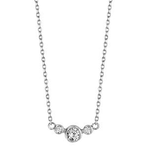 Collier en argent rhodié chaîne avec pendentif 3 oxydes blancs sertis clos, 2 petits et 1 gros au milieu - longueur 42cm + 5cm de rallonge - Vue 2