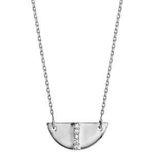 Collier en argent rhodié chaîne avec pendentif demi lune avec barrette d\'oxydes blancs sertis au milieu - longueur 39cm + 3cm de rallonge - Vue 2
