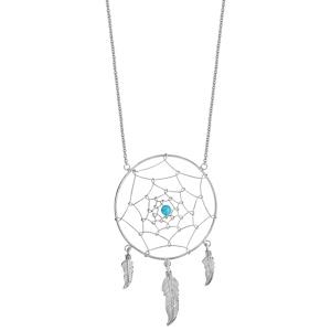 Collier en argent rhodié chaîne avec pendentif attrape rêve avec 1 boule turquoise au centre et 3 plumes suspendues - longueur 60cm - Vue 2