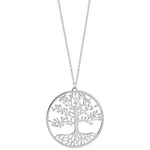 Collier en argent rhodié chaîne avec pendentif rond et arbre de vie de vie découpé à l\'intérieur - longueur 42cm + 3cm de rallonge - Vue 2