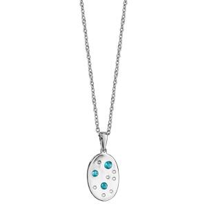 Collier en argent rhodié chaîne avec pendentif ovale orné d\'oxydes blancs et bleu ciel disséminés - longueur 42cm + 3cm de rallonge - Vue 2
