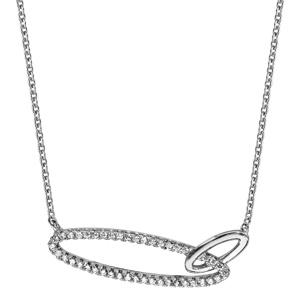Collier en argent rhodié chaîne avec pendentif 2 anneaux ovales emmaillés, 1 lisse et l\'autre en oxydes blancs - longueur 40cm + 4cm de rallonge - Vue 2