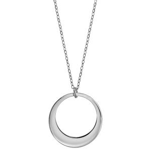 Collier en argent rhodié chaîne avec pendentif 1 anneau à graver - longueur 40cm + 5cm de rallonge - Vue 2