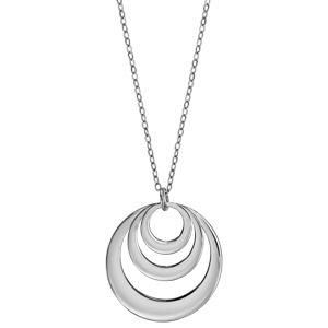 Collier en argent chaîne avec pendentif 3 anneaux à graver - longueur 40cm + 5cm de rallonge - Vue 2