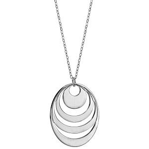 Collier en argent chaîne avec pendentif 4 anneaux à graver - longueur 40cm + 5cm de rallonge - Vue 2