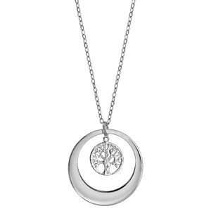 Collier en argent rhodié chaîne avec pendentif anneau prénom à graver avec arbre de vie ajouré suspendu - longueur 40cm + 5cm de rallonge à graver 1 ou 2 prénoms - Vue 2