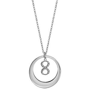 Collier en argent rhodié chaîne avec pendentif anneau à graver et symbole infini orné d\'oxydes blancs sertis suspendu au milieu  - longueur 40cm + 5cm de rallonge - Vue 2