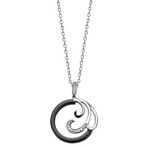 Collier en argent rhodié chaîne avec pendentif rond en céramique noire avec 3 vagues dont 1 ornée d\'oxydes blancs sertis - longueur 42cm + 3cm de rallonge - Vue 2