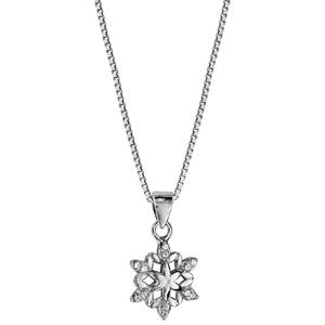 Collier en argent rhodié chaîne avec pendentif flocon de neige orné d\'oxydes blancs sertis - longueur 42cm + 3cm de rallonge - Vue 2