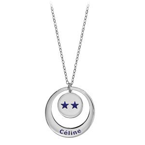 Collier en argent chaîne avec pendentif anneau et médaille à graver - Champions du monde 2 étoiles avec gravure prénom - Vue 2