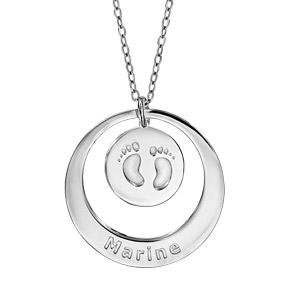 Collier en argent rhodié chaîne avec pendentif anneau et médaille à graver - longueur 40cm + 5cm de rallonge - Vue 2