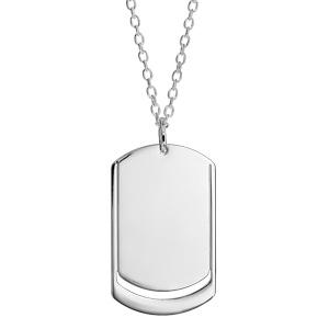 Collier en argent chaîne avec pendentif plaque G.I. à graver 1 ou 2 prénoms - longueur 50cm + 5cm - Vue 2