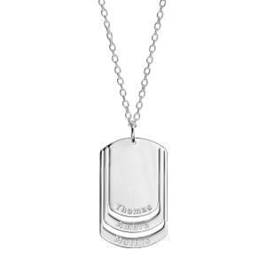 Collier en argent chaîne avec pendentif plaque G.I. à graver 3 prénoms - longueur 50cm + 5cm - Vue 2