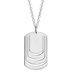 Collier en argent chaîne avec pendentif plaque G.I. à graver 4 prénoms - longueur 50cm + 5cm - Vue 2