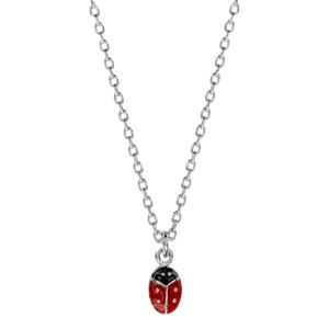 Collier pour enfant en argent chaîne avec pendentif coccinelle - longueur 36cm + 2cm de rallonge - Vue 2
