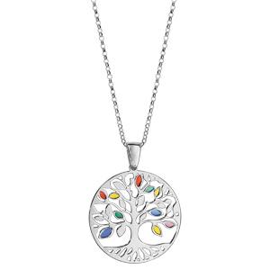 Collier en argent rhodié chaîne avec pendentif arbre de vie ajouré et feuilles en résine multicolore - longueur 42cm + 3cm de rallonge - Vue 2