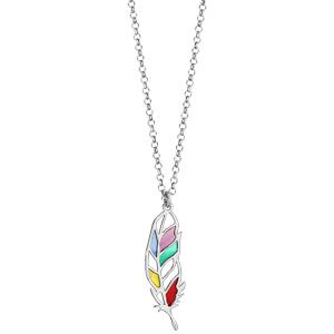 Collier en argent rhodié chaîne avec pendentif plume multicolore et ajourée - longueur 42cm + 3cm de rallonge - Vue 2
