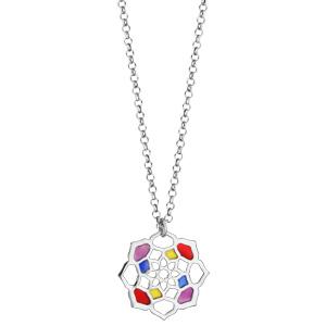 Collier en argent rhodié chaîne avec pendentif fleur multicolore et ajourée - longueur 42cm + 3cm de rallonge - Vue 2