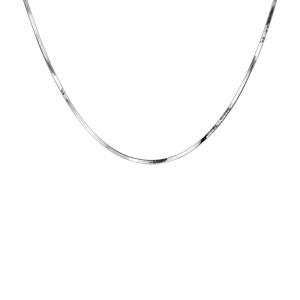 Collier en argent rhodié maille miroir 40cm - Vue 2