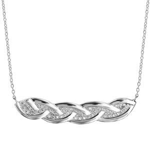 Collier en argent rhodié chaîne avec au milieu tresse avec bords lisses et intérieur pavé d\'oxydes blancs sertis - longueur 40cm + 4cm de rallonge - Vue 2