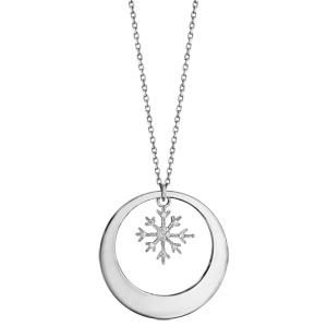 Collier en argent rhodié chaîne avec pendentif anneau à graver et flocon de neige orné d\'oxydes blancs sertis suspendu au milieu  - longueur 42cm + 3cm de rallonge - Vue 2