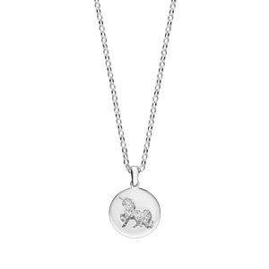 Collier en argent rhodié chaîne avec pendentif licorne martelée sur galet 40+5cm - Vue 2