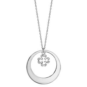 Collier en argent rhodié chaîne avec pendentif anneau à graver et trèfle à 4 feuilles orné d\'oxydes blancs sertis suspendu au milieu  - longueur 42cm + 3cm de rallonge - Vue 2