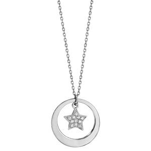 Collier en argent rhodié chaîne avec pendentif anneau à graver et étoile pavée d\'oxydes blancs sertis suspendu au milieu  - longueur 40cm + 5cm de rallonge - Vue 2