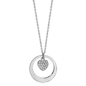 Collier en argent rhodié chaîne avec pendentif anneau à graver et coeur pavé d\'oxydes blancs sertis suspendu au milieu  - longueur 40cm + 5cm de rallonge - Vue 2