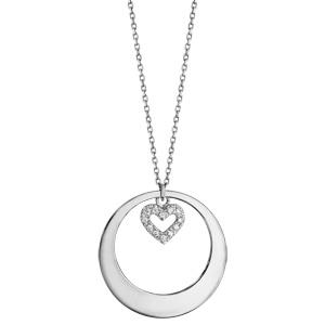 Collier en argent rhodié chaîne avec pendentif anneau à graver et coeur orné d\'oxydes blancs sertis suspendu au milieu  - longueur 42cm + 3cm de rallonge - Vue 2