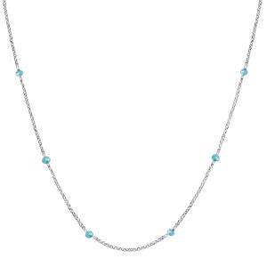 Collier en argent rhodié boules perles de verre facettées bleu clair 70+10cm - Vue 2