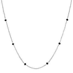 Collier en argent rhodié boules perles de verre facettées noires 70+10cm - Vue 2