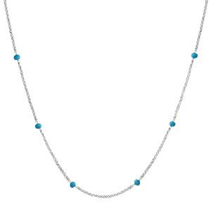 Collier en argent rhodié boules perles de verre facettées turquoises 70+10cm - Vue 2