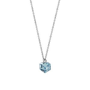 Collier en argent rhodié chaîne avec pendentif cube cristal bleu ciel 42cm + 3cm - Vue 2