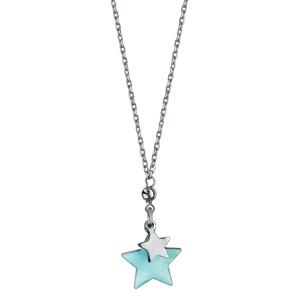 Collier en argent rhodié chaîne avec 2 étoiles suspendues avec résine bleu ciel - longueur 40+5cm - Vue 2