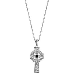 Collier en argent rhodié chaîne avec pendentif croix celtique ornée d\'1 pierre noire - longueur 42+3cm - Vue 2