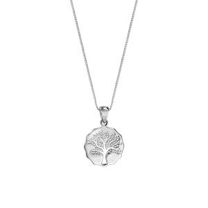 Collier en argent rhodié chaîne avec pendentif galet découpé arbre de vie ajouré 42cm + 3cm - Vue 2