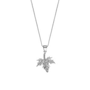 Collier en argent rhodié chaîne avec pendentif feuille érable 42cm + 3cm - Vue 2