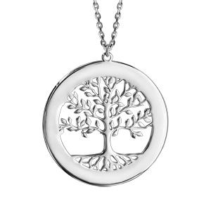 Collier en argent passivé arbre de vie contour à graver 43cm + 2cm - Vue 2