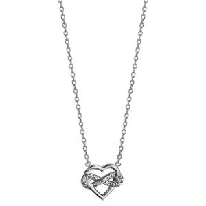 Collier en argent rhodié chaîne avec pendentif coeur et infini oxydes blancs sertis 42cm - Vue 2