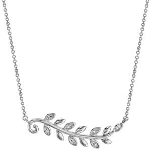 Collier en argent rhodié chaîne avec pendentif feuillage lisse et oxydes blancs 40cm + 4cm - Vue 2