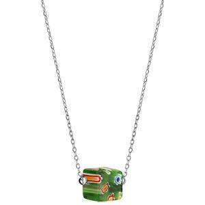 Collier en argent rhodié chaîne avec cube en verre vert - longueur 42+3cm - Vue 2