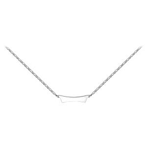 Collier en argent mailles 1+1 avec plaque en forme de trapèze à graver - Vue 2