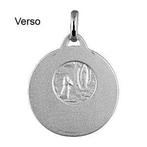 Pendentif médaille en argent rhodié de Saint-Christophe en relief et bord brillant - Vue 2