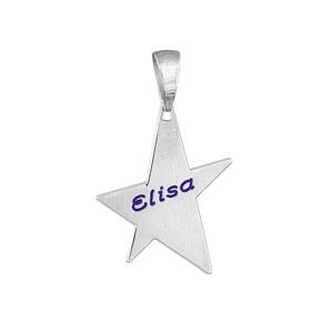 Pendentif en argent étoile à graver petit modèle - plaque prestige - Vue 2